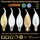 Flame Bent Tip Candelux Bohemian Frosted/Pearl/Gold/Clear BC SES SBC Candle Bulb