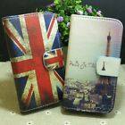 Retro UK flag Eiffel Tower Wallet Pouch Stand flip case cover for Huawei Phone