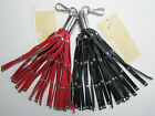 NWT Michael Kors Leather Key Charms Studded Tassel Fob Red