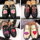 Real Calfskin Embroidered Snake Appliqué Rabbit Fur Lined Slippers Mules Loafers
