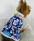 dog cat clothing apparel dress hawaii necklace blue new  xs