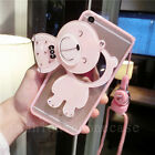 3D Cute Bear Mirror Hybrid Clear Case Cover for iPhone/Samsung with Neck Strap
