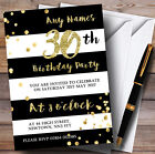 Black & White Stripy Gold Confetti 30th Personalised Birthday Party Invitations