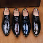 Chic New Mens Pieced Lace Up Pointy Toe Brogue Patent Leather Dress Formal Shoes