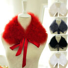 Lady Real Ostrich/Turkey Feather Fur Collar Scarf Wrap 5 Colors White/Black Deal