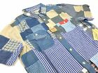 Denim Supply Ralph Lauren Mens Blue Multi Patchwork Stripe Plaid Check S/S Shirt