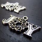 Christmas Joy Antiqued Silver Plated Wreath Charms C8169 - 10, 20 Or 50PCs