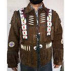 Handmade Brown Native Western Suede Jacket Coat, Fringe Beads Bones jacket Men