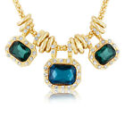 18K Gold Plated w/ Emerald-Cut Glass and Crystals Statement Necklace 18""