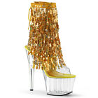 "ADORE-1017SQF 7"" CLEAR UPPER 4-LAYERS SEQUINS FRINGE POLE DANCE PLATFORM BOOT"