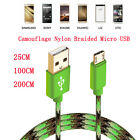 0.25/1/2M Forest Camouflage Nylon Braided Micro USB Fast Charging Date Cable Lot
