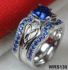 Irish Claddagh Celtic Heart Blue Sapphire 925 Silver Bridal Engagement  Ring Set