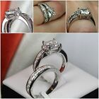LOVELY STERLING SILVER 925 PRINCESS CUT ENGAGEMENT RING WEDDING RING SET