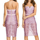 Pinkish Purple Rose Lace Strapless Hollow Out Knee Length Party Cocktail Dress