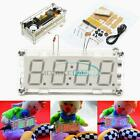 4-Digit LED Digital Electronic Clock DIY Kit Light Control Case Red/Blue/Green