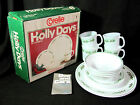 Vintage 1985 Corelle Christmas Holly Days 16 pc Dinnerware Set