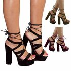 NEW WOMENS LADIES HIGH BLOCK HEEL PLATFORM STRAPPY LACE UP PARTY SANDALS SIZE