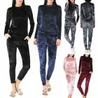 Women Crushed Velvet Lounge Suit Sweatshirt Pant Women Lounge Wear Tracksuit Hot