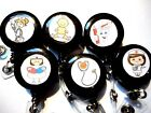 1 2 or 3 office ID Badge Reel Holder recoil nurse tooth medic YOU CHOOSE style