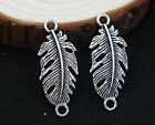 beautiful New 12pcs Retro Style ancient silver Hollow feather Charm connector