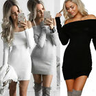 Womens Bardot Off Shoulder Bodycon Winter Ladies Midi Jumper Dress Size 6-14