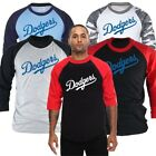 Mens Los Angeles LA Dodgers 3/4 Sleeve Raglan Baseball Tshirts Jersey Top Tee Hd
