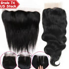 7A 100% Unprocessed Virgin Human Hair Swiss Frontal Lace Closure One Bundle US