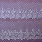 Flower Embroidered Tulle Mesh Net Lace Trim Antique Off White Ivory 1yd