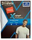 Hanes White Lay Flat Collar Men's X-TEMP 3-Pack TAGLESS Crew necks T-shirt NWT