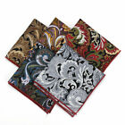 Mens Paisley Floral Cotton POCKET SQUARE Wedding Party Handkerchief Hankies 9.8""