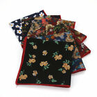 New 25CM Mens Cotton Print Flower Handkerchief Wedding Party Pocket Square Hanky