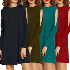 Women's Fashion Loose Shoulderless Tops Blouse Pullover Party Mini Dresses
