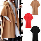 Pretty Ladies Pure Color Hooded Coat Women Long Overcoat Button Jacket w Pockets