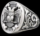 ARTISAN FLORAL GERMAN IMPERIAL EAGLE BIRD FEATHER 925 STERLING SILVER MENS RING