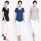 GREY New Women Fashion Solid Bottoming Short Sleeve Casual Modal Shirt Tee Tops