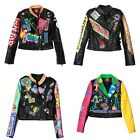 Women Fashion Multicolor Punk Leather Motorcycle Jacket Graffiti Street 2017 New