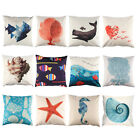 "18"" Ocean Marine Life Cushion Cover Cotton Linen Throw Pillowcase Home Decor"