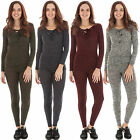 New Womens Ribbed Lace Up Scoop Shape Neck Two Piece Tracksuit Size 8 10 12