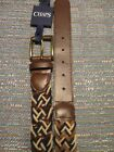 Chaps Cotton Blnd Faux Leather Multi Brown Braided Belt SR$30 NEW