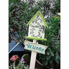 Garden Decoration Lovely Colored Drawing Woods Small House Welcome Board Rural