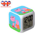 Peppa Pig&Paw PatroL LED Digital Alarm Clock Night Colorful Glowing,Thermometer
