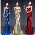 Womens Sequins Mermaid Party Ball Gown Fishtail Double Shoulder Bling Style