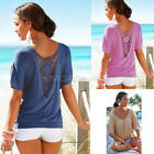Fashion Women's Summer Blouse Lace Short Sleeve Casual Tank Tops T-Shirt S--XL