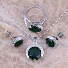 Round Green Emerald Silver Jewelry Sets Earrings Pendant Ring S0078