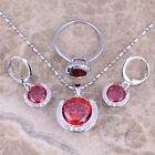 Awesome Red Garnet Silver Jewelry Sets Earrings Pendant Ring S0240