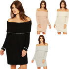 Womens Cable Knit Lurex Dress Ladies Bardot Off Shoulder Long Sleeve Top 8-14