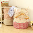 Foldable Cotton Linen Washing Clothes Laundry Basket Hamper Storage Sorter Bag