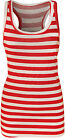 New Womens Striped Print Sleeveless Long Racer Muscle Back Ladies Vest Top 8-14