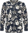 Womens Plus Floral Print Bomber Jacket Ladies Long Sleeve Zip Pocket 18-28