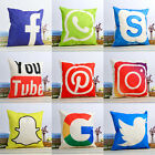 18'' Social Media Theme Cushion Cover Cotton linen Throw Pillow Case Home Decor